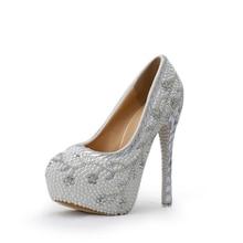 2016 Crystal Handmade White Heel Pearl  Bridal Shoe Luxurious Rhinestone Wedding Shoes Women High Heels Platform Pumps Plus Size