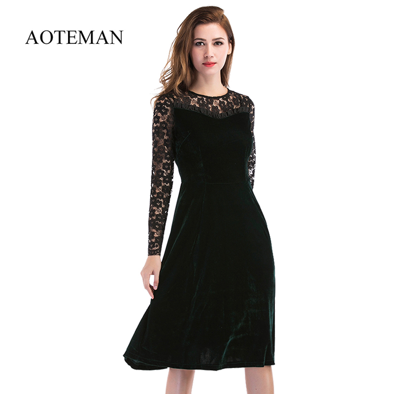 AOTEMAN Summer Autumn Dress Women Casual Long Sleeve Hollow Out Sexy Lace Dress Female Elegant Solid Party Club Dresses Vestidos