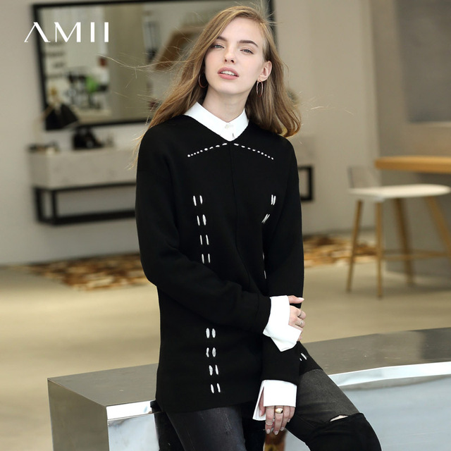 Amii Minimalist V-neck Sweater Women Autumn Winter 2019 Causal Patchwork Strips Loose Long Sleeve Female Knitted Sweaters