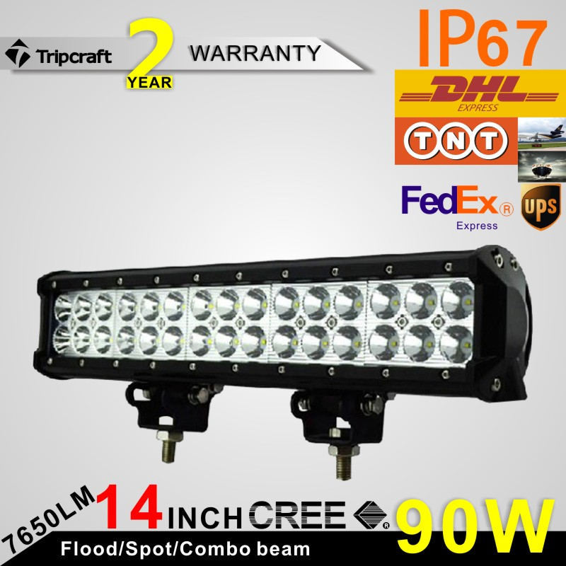 ФОТО Hot sale!!! 2PCS 14.57 inch 2 ROW 90W  LED LIGHT BAR LED RAMP LAMP OFFROAD for all vehicles with high low beam function 10V~30