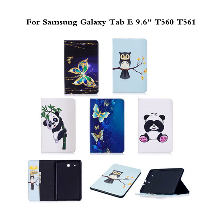 Flip PU Leather Case For Samsung Galaxy Tab E 9.6 inch SM-T560 T561 T560 sm-t560 Tablet Cover Fashion Panda Butterfly Style Case new fashion tab s3 9 7 tablet case pu leather flip cover for samsung galaxy tab s3 9 7 inch t820 t825 cute stand cover 6 colors