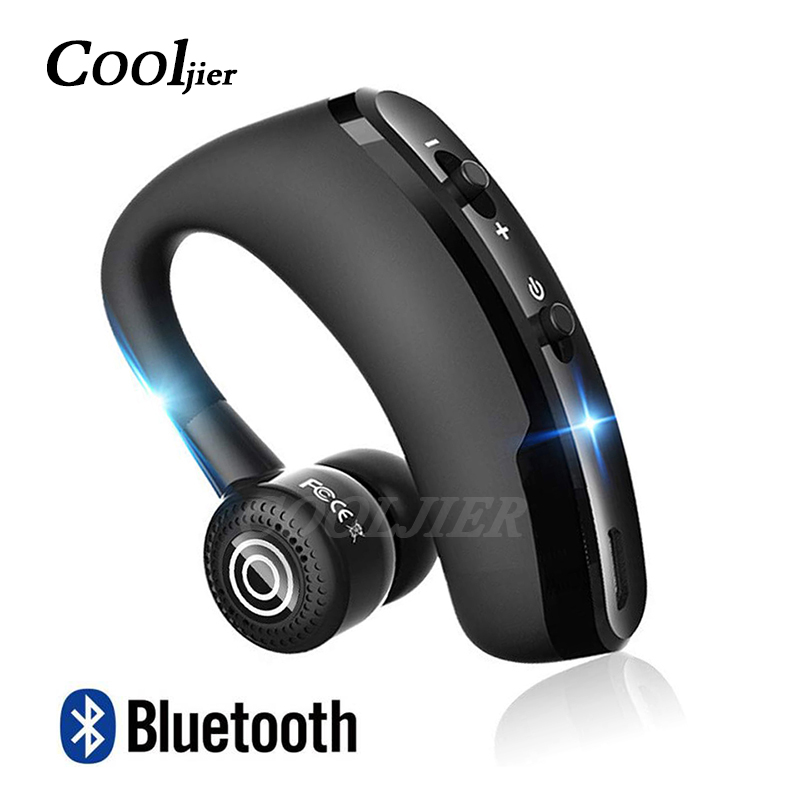 COOLJIER 2019 NEW Wireless Bluetooth Earphone V9 Stereo Business Headset Handsfree Ear-hook Earphones With Mic For IPhone XR X 8