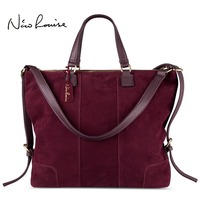 Nico Louise Women Real Split Suede Leather Shoulder Tote Bag Fashion Female Large Leisure Nubuck Casual