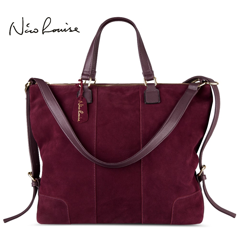 Nico Louise Women Real Split Suede Leather Shoulder Tote Bag Fashion Female Large Leisure Nubuck Casual Handbag Travelling Bags