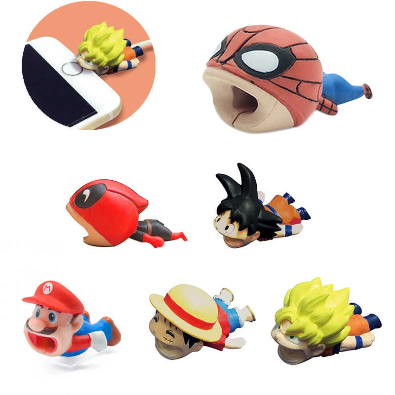 Spiderman Captain America Super Mario Cable Bite Protector Iphone Cable Winder Cosplay Prop Accessories Dragon Ball One Piece