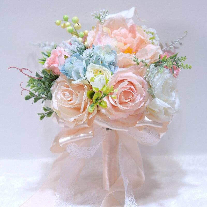 H&S BRIDAL Peony Flowers Wedding Bouquet Bouquet De Mariage Artificial Wedding Bouquets For Brides 2019 Bridesmaid Bouquets