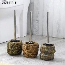 Cepillo para inodoro con forma de piedra clásica creativa, conjunto de cepillos y soportes para inodoro, Herramientas de limpieza, accesorios de decoración de cerámica para Baño
