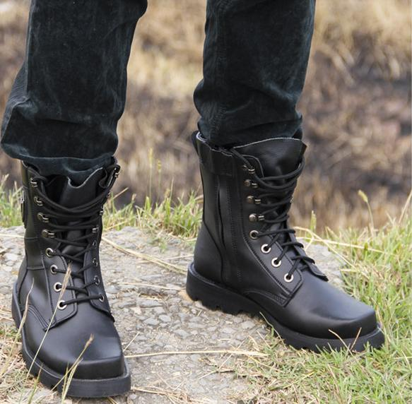 New-2015-Star-Style-Classical-HIGH-END-Ankle-Boot-Handmade-Custom-Steel-Toe- Boots-Leather-Army.jpg