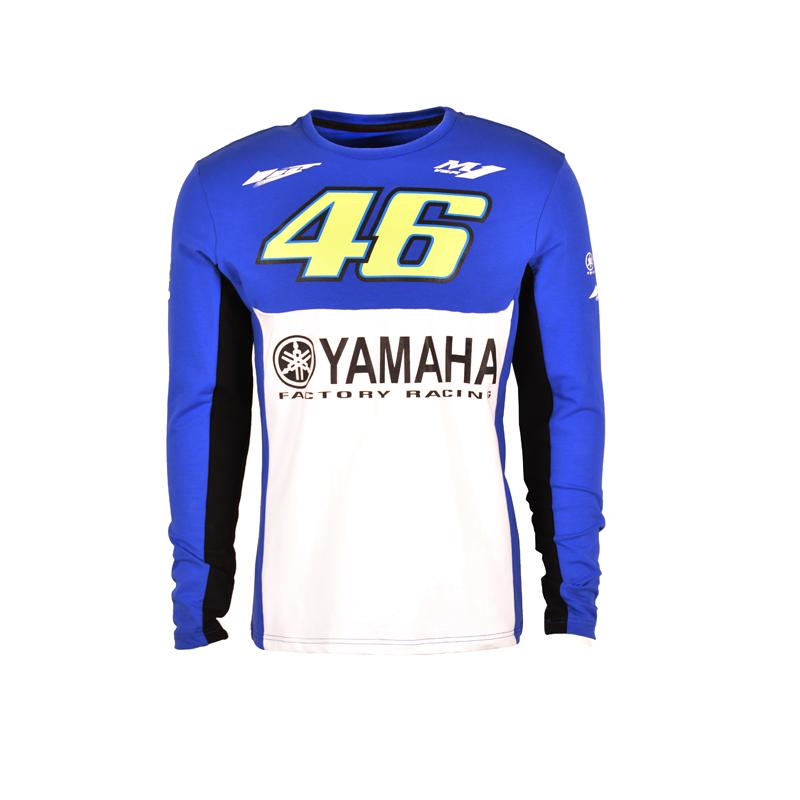 Prix pour 2017 valentino rossi vr46 m1 factory racing équipe moto gp pour yamaha t-shirt bleu blanc manches longues