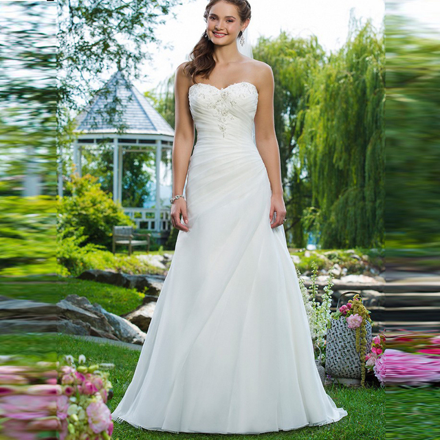 Beautiful Cheap Garden Wedding Dresses A line Organza Hot sale ...