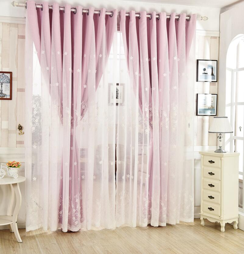 Floral Lace Embroidery European Tulle Black Out Double linen Curtains with Leaves Tassel High Black Out Blinds Window Curtains in Curtains from Home Garden