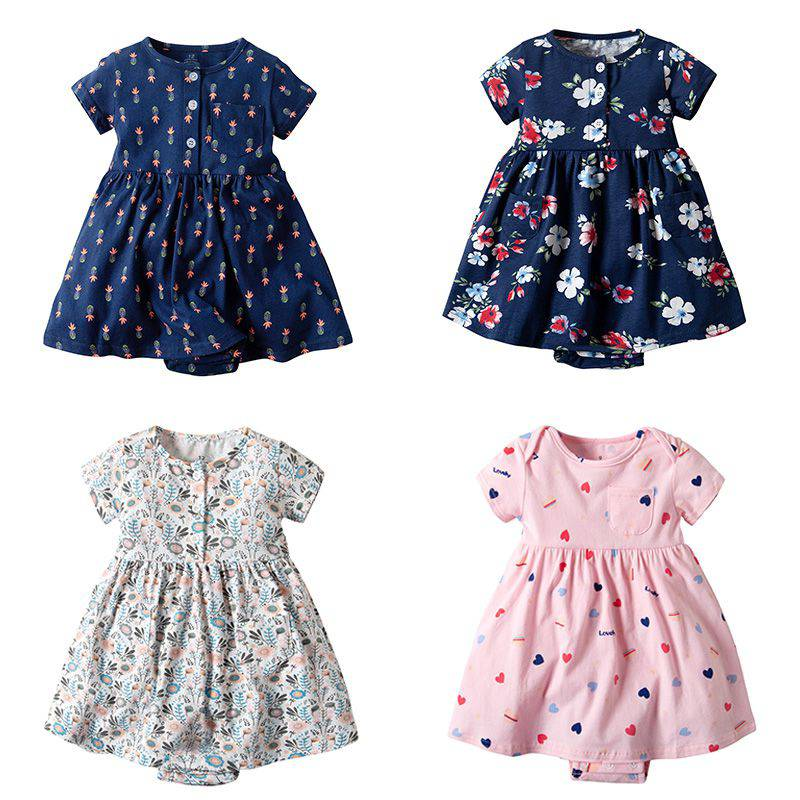 Newly Multi-color Newborn Girls Dresses Baby Clothing Short-sleeved Cotton Toddler Princess Romper Dresses 2019 Summer 0-2Y