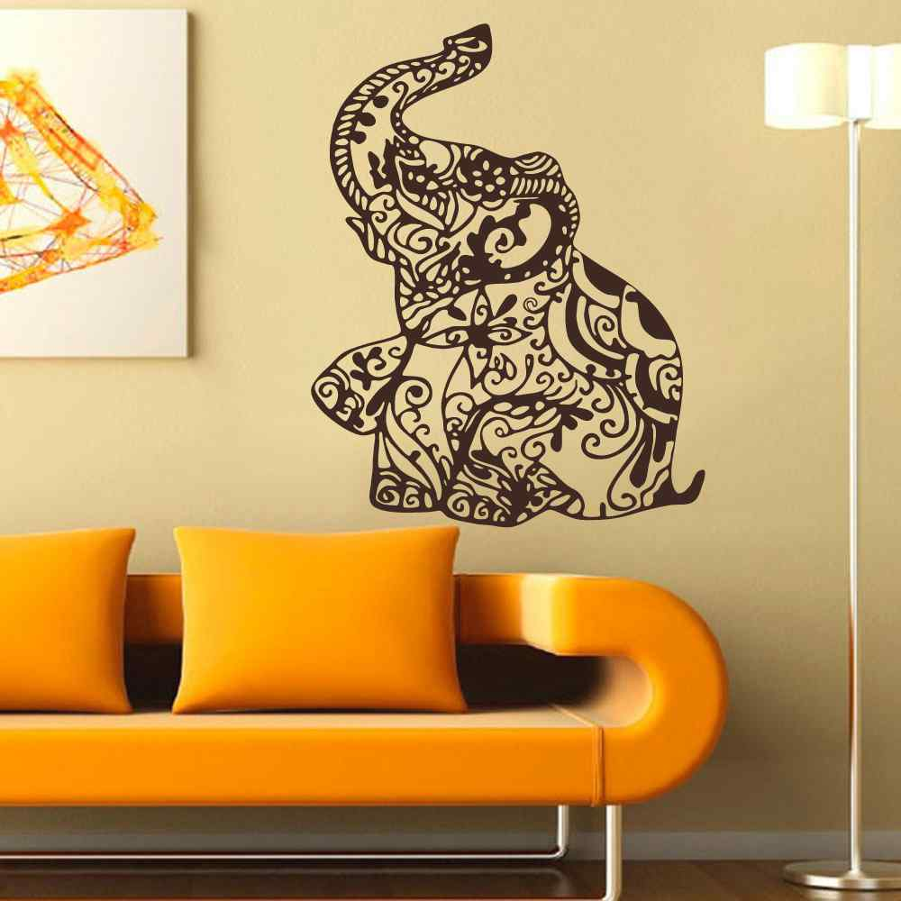 Elephant Wall Decal Stickers Floral Patterns Yoga Decals Indie Wall ...