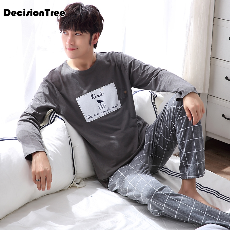 2020 Men Pajama Cotton Gray O Neck Sleepwear Men Long Sleeve Home Clothes Plus Pijama Underwear Set Pyjamas Nightwear