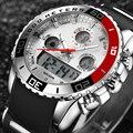 Esportes homens Relógios À Prova D' Água Mens Relógio de Quartzo Digital de Alarme Cronômetro Militar Dual Time Zones Nova Marca relogios masculinos