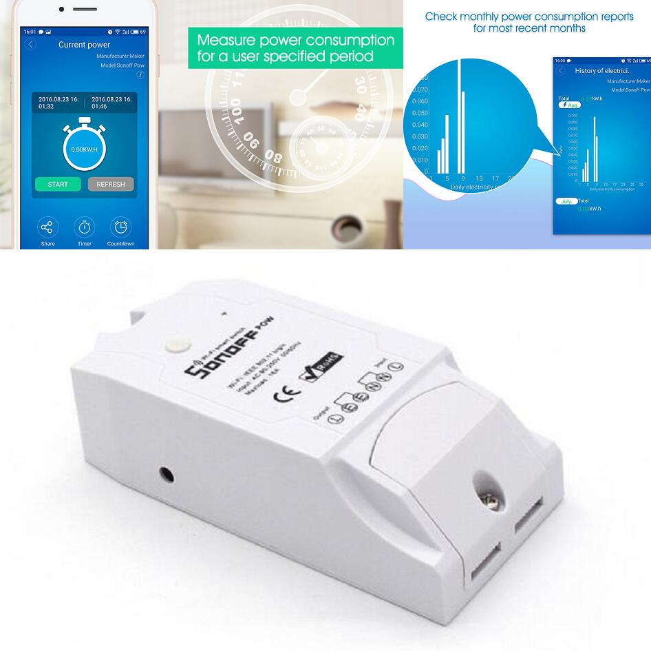 imágenes para Itead Sonoff Pow WiFi Inalámbrico Interruptor ON/Off 16A Power monitor de voltaje ampere medidor de KWH de electricidad de distribución de Casa inteligente aparato