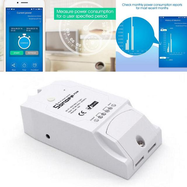 US $11 98 |Itead Sonoff Pow Wireless WiFi Switch ON/Off 16A Power monitor  electricity meter KWH voltage ampere timing smart Home Appliance -in Smart