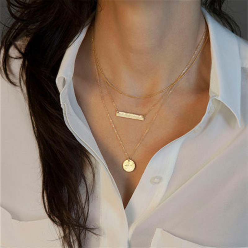 Multi Layer Necklace Gold Skinny Bar Stacking collier  Stacked Necklace bijoux femme Boho Jwewlry tassels bar coin necklace  men beaded bracelet red