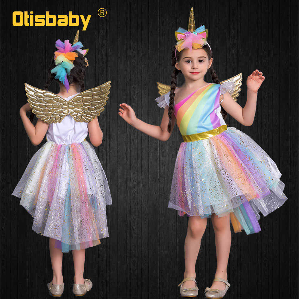Child Halloween Girls Pony Ball Gown Infant Rainbow Voile Unicorn Dress Kids Horse Clothes Girl Angel Unicorn Wing + Headband