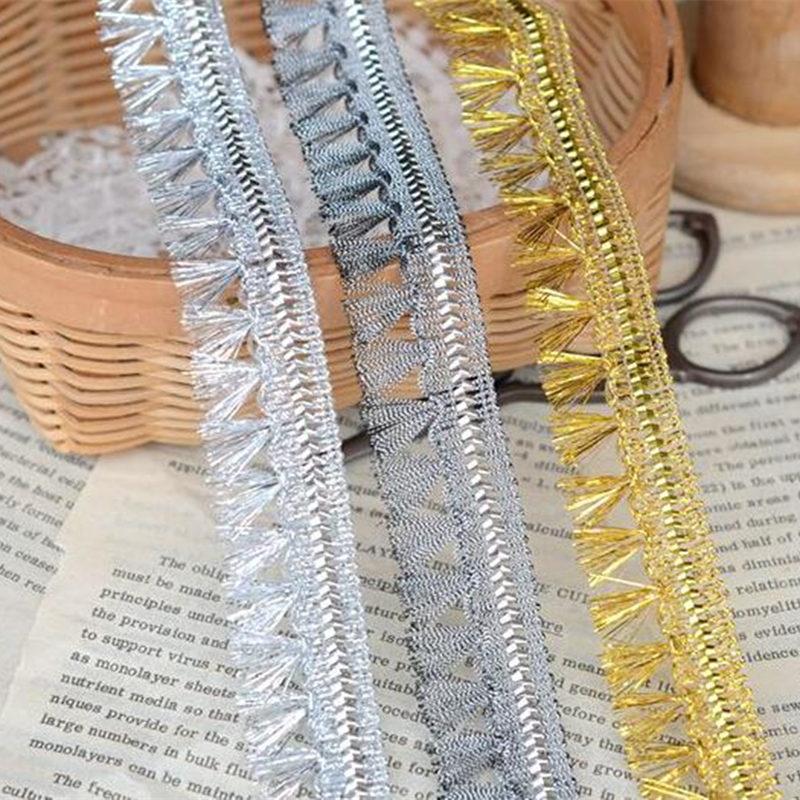 Colour Choice Tassel Trim//fringe Braid 3.5cm Metallic silver//gold per 1m