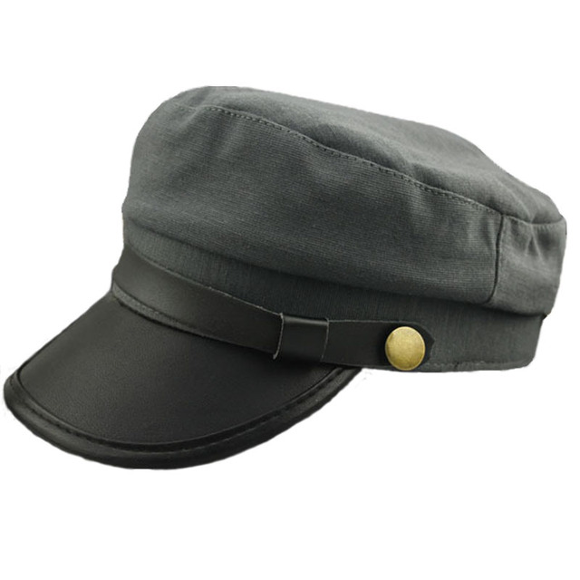 9b7b1edb 2015 Vintage Style Unisex Men Women Caps Leather Buckle Army Cadet Military  Navy Sailor Hat Flat Top Cap 3 Colors