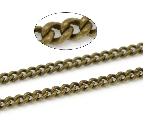 DoreenBeads Antique Bronze Link-Soldered Copper Curb Chains Findings 3x2mm, Sold Per Packet Of 2M New