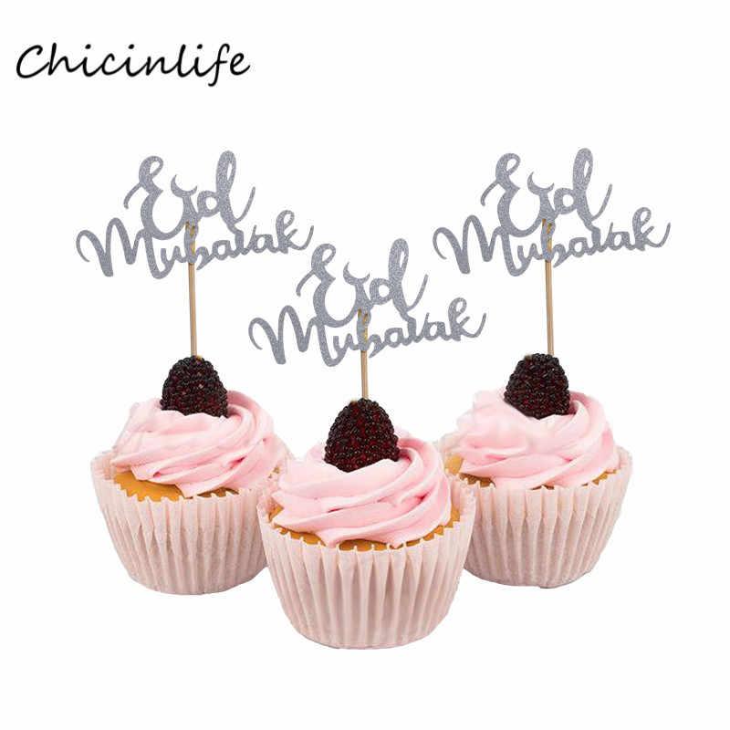 Chicinlife 10 pcs Eid Mubarak Cupcake Topper Ramadan Đảng Trang Trí Hồi Giáo Mubarak Nguồn Cung Cấp