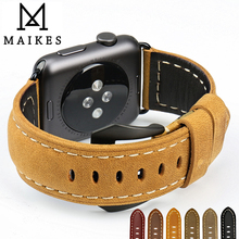 MAIKES New vintage leather watchbands watch accessories for iwatch bracelet Apple watch band 42mm 38mm series 1&2 watch strap tjp series 2 1 genuine brown vintage italy calf leather watchbands strap for apple watch iwatch 38mm 42mm wristband with adapter
