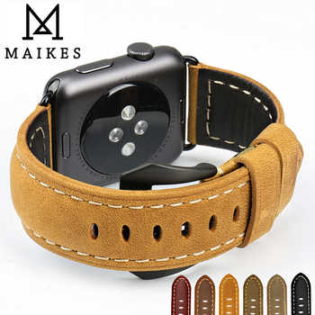 MAIKES New vintage leather watchbands for iwatch bracelet Apple watch band 44mm 40mm 42mm 38mm series 4 3 2 1 watch strap - DISCOUNT ITEM  30% OFF All Category