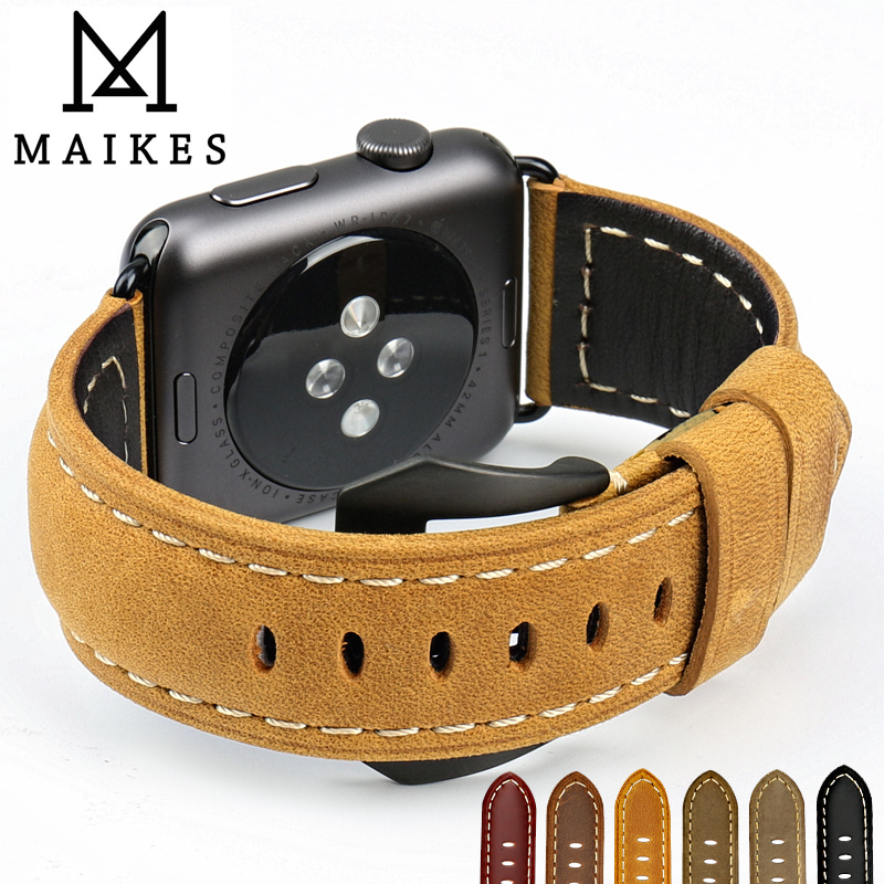 MAIKES New vintage leather watchbands watch accessories for iwatch bracelet Apple watch band 42mm 38mm series 1&2 watch strap maikes 18mm 20mm 22mm watch belt accessories watchbands black genuine leather band watch strap watches bracelet for longines