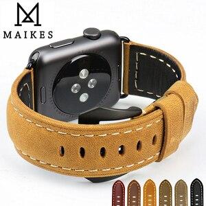 Image 1 - MAIKES جديد خمر جلدية الساعات ل iwatch سوار سوار ساعة يد آبل 44 مللي متر 40 مللي متر 42 مللي متر 38 مللي متر سلسلة 4 3 2 1 حزام ساعة اليد