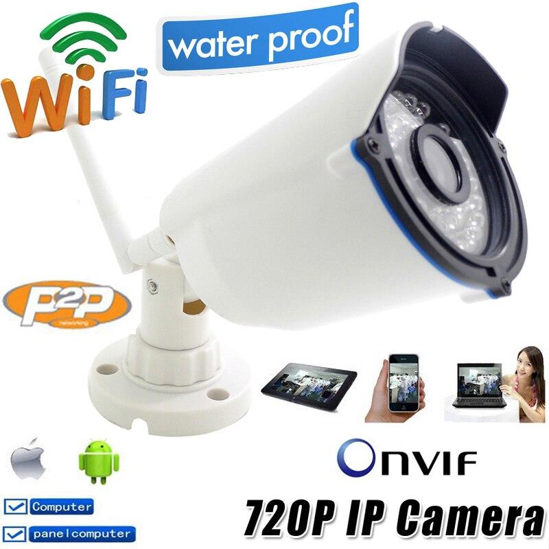 Câmera Ip 720 p wi-fi HD de Segurança CCTV À Prova D' Água Sem Fio P2P Infravermelho Mini Onvif H.264 Visão Nocturna do IR À Prova de Intempéries Ao Ar Livre CAM