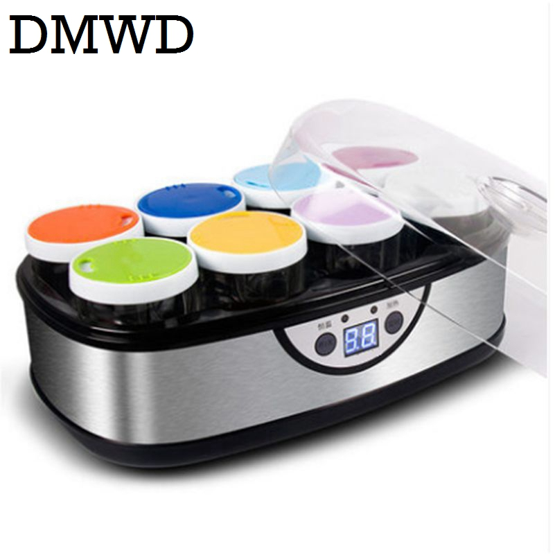 DMWD Electric Yogurt Maker With 8 Glass Cups Automatic Leben Yoghurt rice wine Machine Buttermilk Sour Cream natto Fermenter EU rw 1 5l automatic natto yogurt makers light green household intelligent rice wine yogurt machine with glass liner free shipping