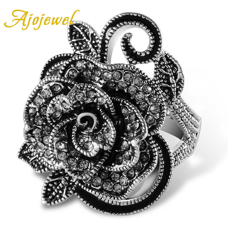 Ajojewel #7-9 Black Rose Flower Big Vintage Rings For Women Unique Retro Crystal Rhinestone Jewelry Luxury Gift