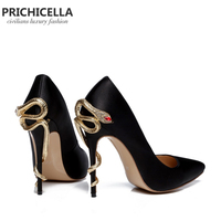 PRICHICELLA Satin Gold mental snake heel dress shoe unique genuine leather pointed toe high heeled pumps