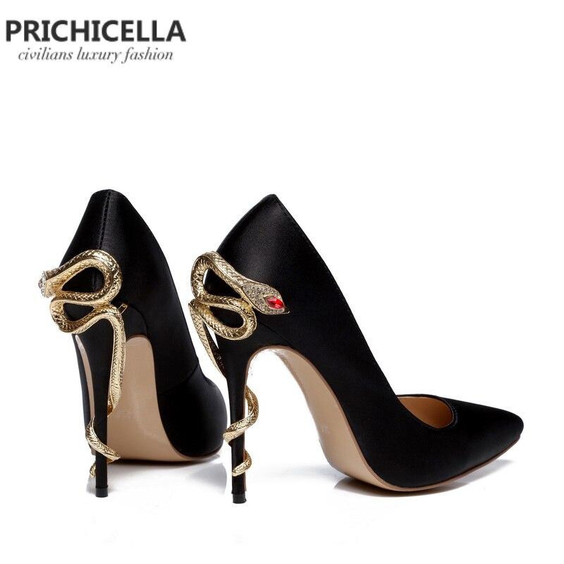 Prichicella satén oro serpiente mental tacón vestido zapato único cuero genuino punta dedo del pie bombas de tacón alto