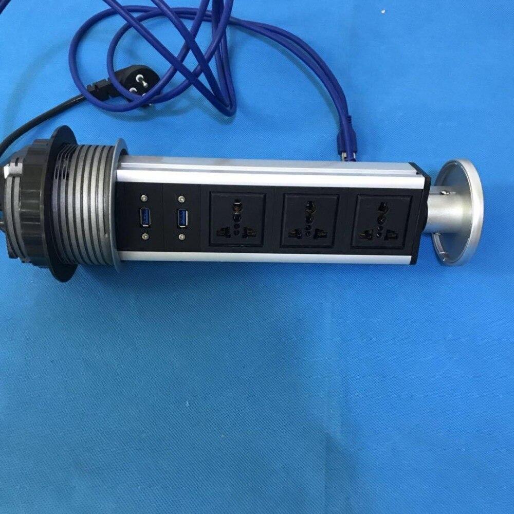 Câble de données USB 3.0 prise de courant manuelle type de tirage haute vitesse versions de montage semi-affleurant et affleurant