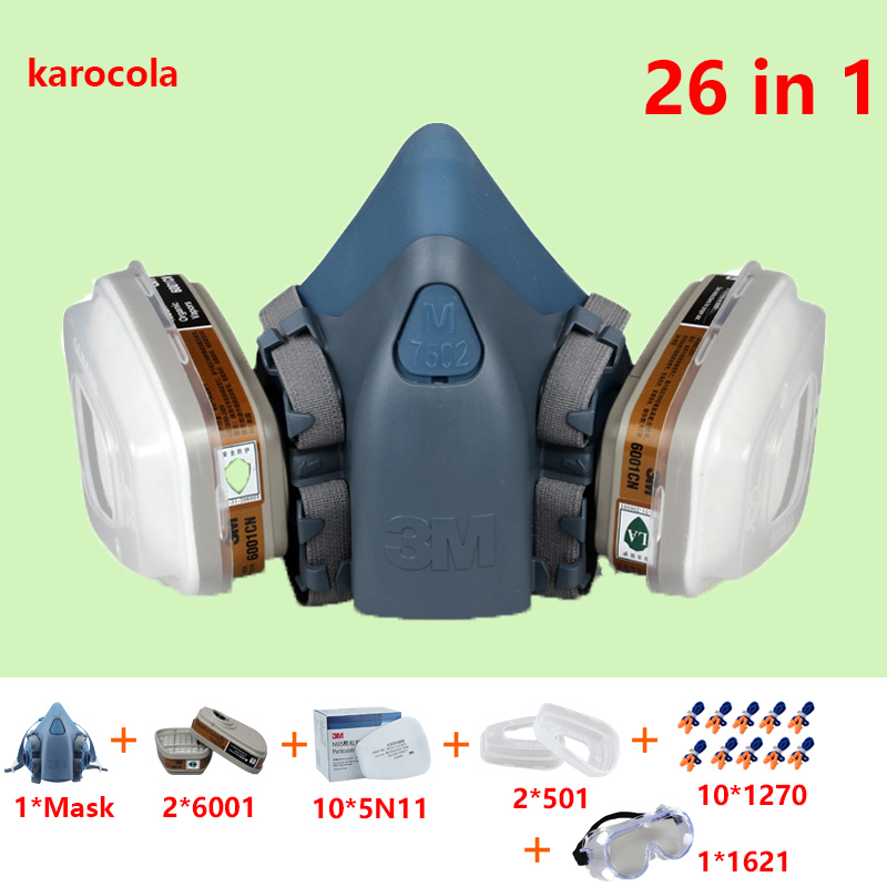 26 In 1 Gas mask 7502 Silicone Half Face Respirator For Spray Paint Industrial Chemical N95 6001cn Gas Masks Dust-proof 9 in 1 suit gas mask half face respirator painting spraying for 3 m 7502 n95 6001cn dust gas mask respirator