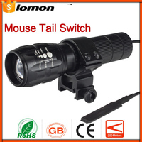 Portable LED Flashlight Remote Control Mouse Tail Switch Zoom Flashlight Zoomable Torch Cycling Hunting + Holder Pressure Switch