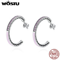 WOSTU Real 100 925 Sterling Silver Radiant Hearts Pink Hook Earring For Women Wedding Jewelry Original