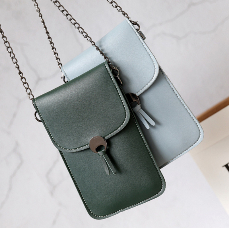 Women Wallets Chain Shoulder Straps Transparent Bag Card Holders Women Cell Phone Pocket Handbag Ladies Clutch Phone Purse 2020