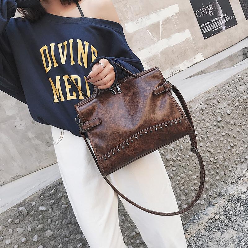 Donne black Rivetto Di Sacchetto Femminile khaki Grande Del Borsa Capienza Bag Semplice brown Delle Coffee Spalla New Crossbody ZrgxEtg