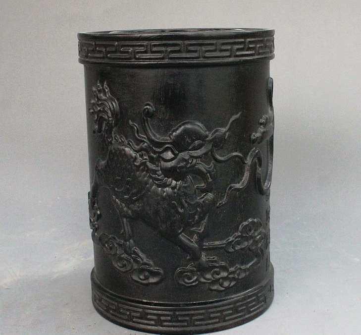עץ מגולף סיני עושר פסל אגרטל עיפרון צ 'י לין Kilin Qilin סיר מברשת