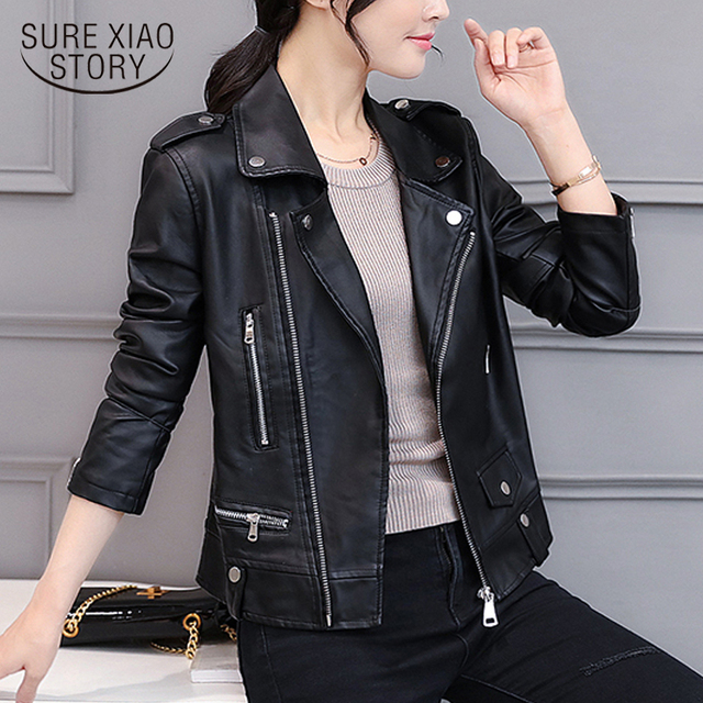 f03c67122 US $22.82 24% OFF|2018 Fashion spring and autumn wear Korean style PU  leather slim short style jacket women suit motorcycle small coat 1266 40-in  ...