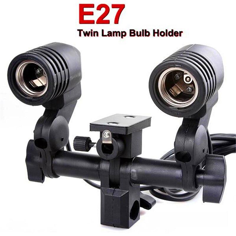 E-27 Universal Lamp Holder umbrella Holder Dual Independent Lamp Holder Screw Socket Electronic Light Stand Estabilizador