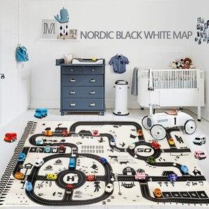 Image 1 - 100X130CM zabawka samochód mata mapa dzieci bawią się dywan do składania Mat miasto drogowe budynki Parking mapa gra scena mapa składana