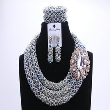 Fashion Silver Blue African Beads Wedding Jewelry Sets Nigerian Beaded Necklace Anniversary Jewelry Full Sets Free Shipping