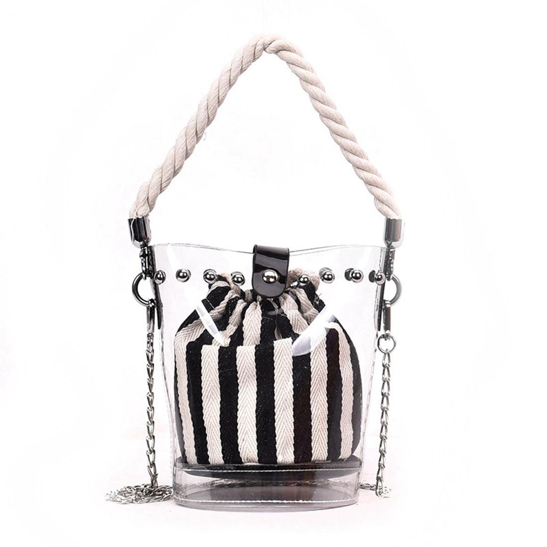 HCH-Black New Fashion PVC Chain Diagonal Bag Fashion Transparent Hit color Stripe Rivet Hemp Single shoulder Diagonal Child ba