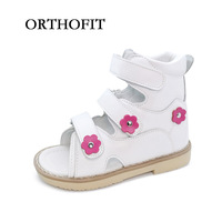 2017 Red Pink Children Leather Sandals Girl Orthoepdic Shoes Kids Orthotic Shoes
