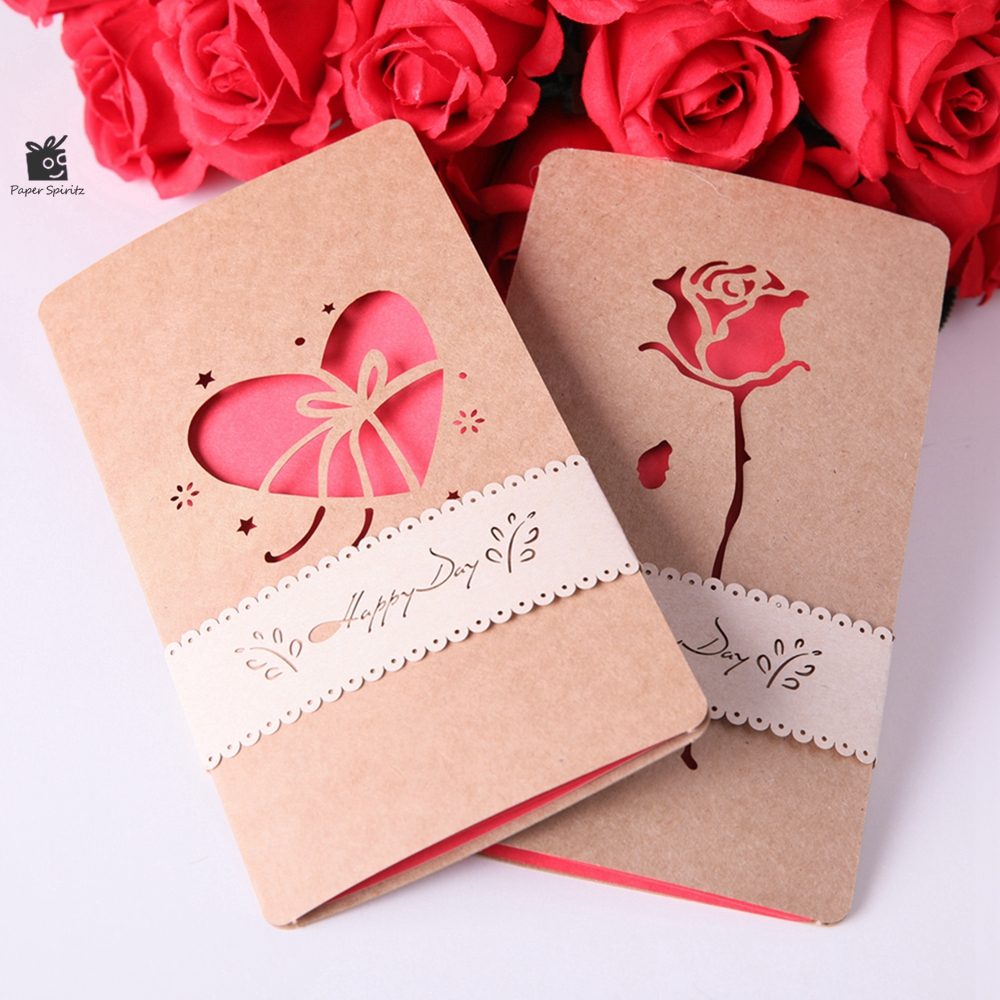 Wedding Invitation Card Rose and Heart invitations Laser Cut Postcard Greeting Gift Cards